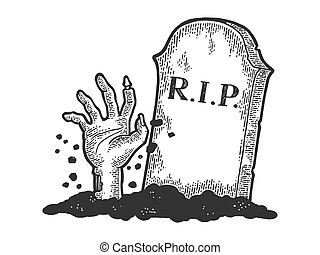 Zombie Dead man hand crawls out of grave sketch engraving vector illustration. Scratch board style imitation. Black and white hand drawn image.