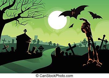 Zombie Dead Skeleton Hand From Ground Vampire Bat Halloween Banner Cemetery River Graveyard Card