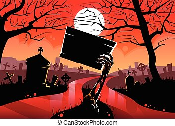 Zombie Dead Skeleton Hand Hold Sign Board, Red Blood River Halloween Arms From Ground Cemetery