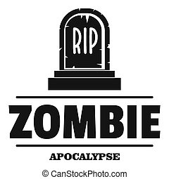 Zombie death logo, simple black style
