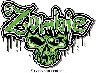 zombie design with skull face