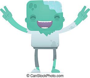 zombie, divertente, cartone animato