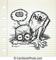 zombie, doodle, grunge