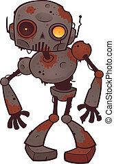 zombie, enferrujado, robô