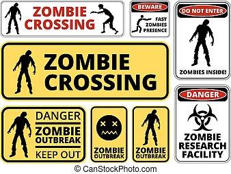 Zombie - Zombie Crossing Infected Apocalypse Signs, Symbols...