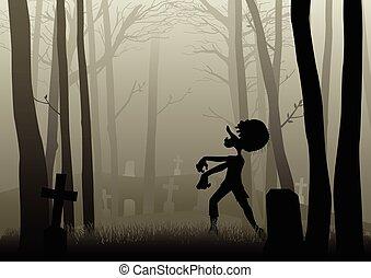 zombie, escuro, andar, madeiras, cemitério