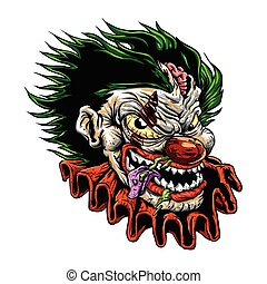 evil clown - zombie evil clown.vector illustration.