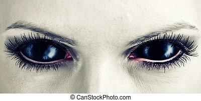 zombie, eyes., pretas, mal, femininas