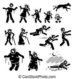 Zombie family and infected stick figures character design.