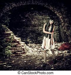 zombie, femininas, sangue, segurando, faca