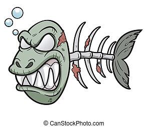 Zombie fish - Vector illustration of Cartoon zombie fish