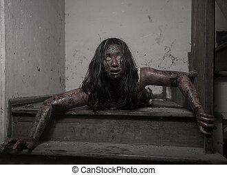zombie, flicka, in, hemsökt hus, skrämmande