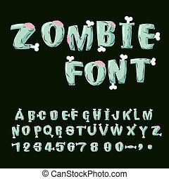 Zombie font. Bones and brains. Living dead alphabet. Green...