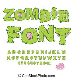 Zombie font. Scary Green letters and brain. Horrible...