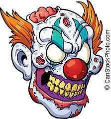 zombie, głowa, klown