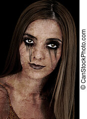 Zombie Girl - Portrait of a young zombie woman over a black...