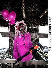 Zombie girl with a bunch of pink balloons