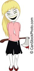 Lovely little zombie girl with an axe behind her back