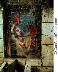 zombie, gniewny, okno
