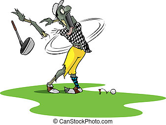 A cartoon zombie golfer falling apart on the tee. Layered vector file.