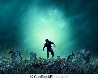 Zombie Grave Halloween Background - Zombie grave halloween...