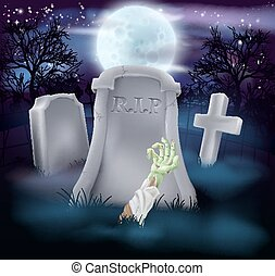 Zombie grave Halloween illustration