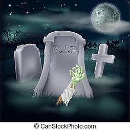 Zombie grave illustration