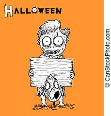 Zombie Halloween background vector by hand drawing.