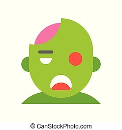 zombie, halloween character set icon, flat design