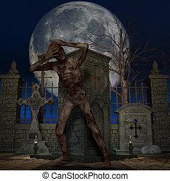 zombie, halloween, figura, -
