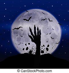 zombie, halloween, fondo, mano