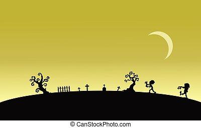 zombie, halloween, kyrkogårdar, silhuett