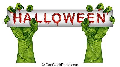 zombie, halloween, meldingsbord