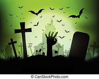 zombie, halloween, paesaggio, cimitero, mano
