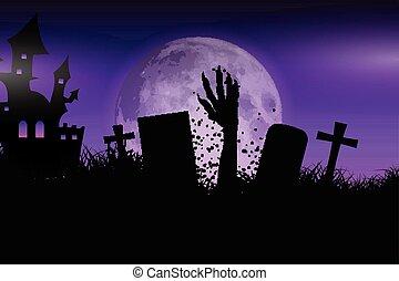 zombie, halloween, paesaggio, mano