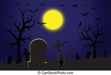 Zombie hand coming out from grave - Cemetery during...