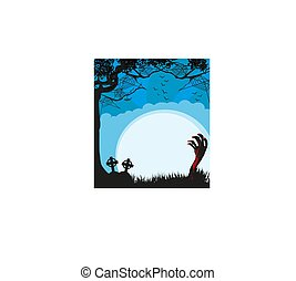 Zombie hand coming out of grave - card