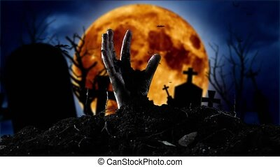 Zombie hand coming out of the grave. Graveyard background -...
