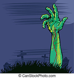 Zombie hand coming out the ground illustration. Vector...