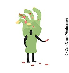 Zombie Hand costume man mascot promoter. Male in suit green arm distributes flyers. Puppets monster engaged in advertising goods