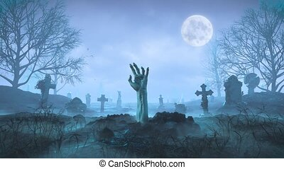 Zombie hand crawls out of the ground at night against the background of the moon in the cemetery