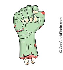 Zombie hand, Fist gesture halloween vector - realistic cartoon isolated illustration. Image of scary monster fist gesture with bones out green skin. Picture isolated on white background.