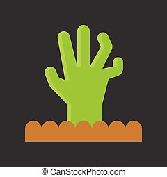 zombie hand, Halloween related icon, flat design