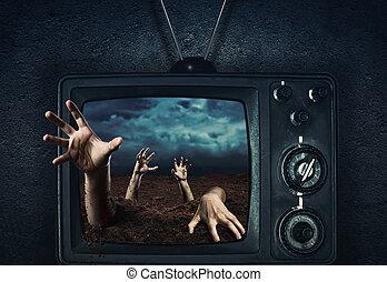 zombie, hand, herauskommen, von, fernsehapparat