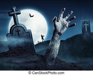 zombie, hand, herauskommen, von, seine, grab