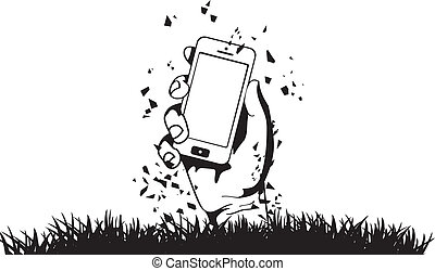 Zombie Hand holding the phone vector
