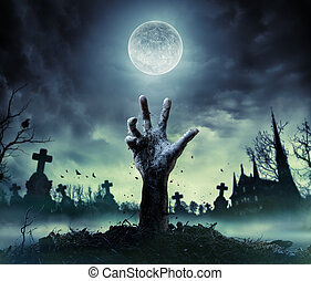 Zombie Hand Rising Out Of A Graveyard