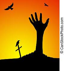 zombie, hand, steigend, heraus, von, grab