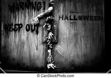 zombie hand through the door, useful for some Halloween...