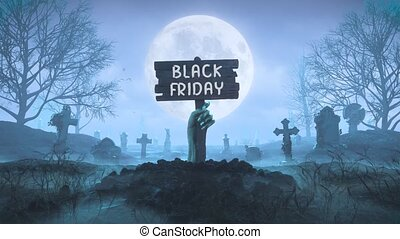 Zombie hand with a wooden plaque with Black Friday wordmark out of the ground at night against the background of the moon in the cemetery in 4k